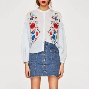 ZARA TRF  floral embroidery shirt